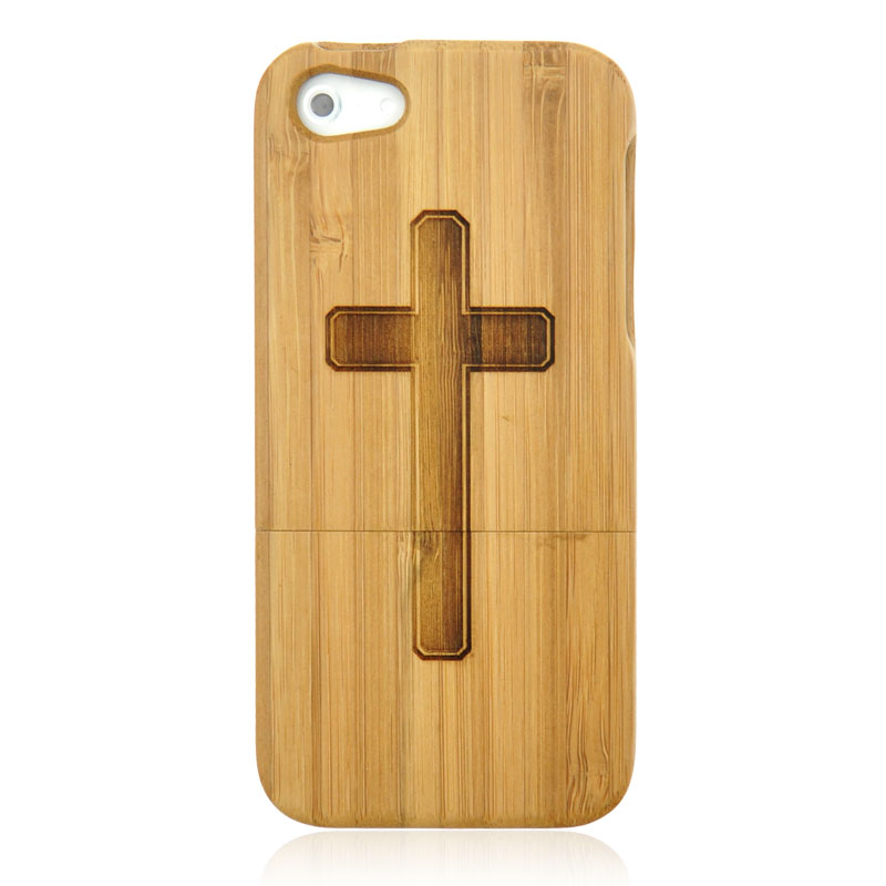 Hand Carved Cross Wood Phone Case For iPhone 5